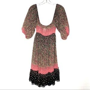 Boho Prairie Puff Sleeve Floral Trend Dress Pink L